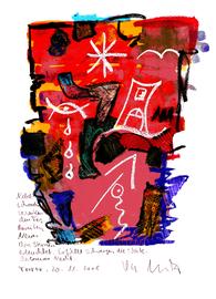 """""""Nebelschwaden"""" / Torrox, 20.11.2008 / """"Sprechbild"""" mit Text als Original Grafik mit Aquarellfarben, Ölkreide, Tusche, Bleistift und Text auf Papier / B 21,0 cm * H 29,7 cm / Werkverzeichnis 3.816"""