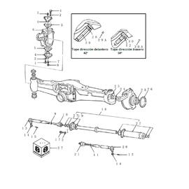 Caja de pivote, cilindro para dirección Carraro y sus componentes.