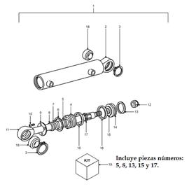 Cilindro de dirección NHM y sus componentes