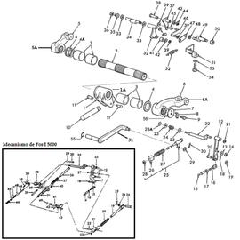 Mecanismo para brazos de levante Ford y New Holland.