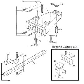 Barra de tiro oscilante y sus componentes.