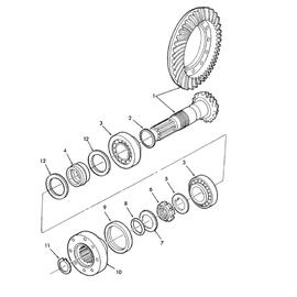 Corona, piñón del eje delantero y sus componentes.