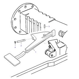 Pedal para bloqueo de diferencial y sus componentes.