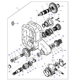 Caja de transferencia MF 285 FWD y sus componentes.