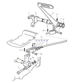 Pedal para embrague y sus componentes.