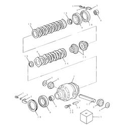 Caja del diferencial delantero con deslizamiento limitado y sus componentes.