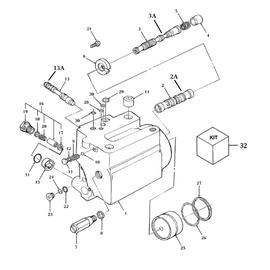 Cilindro hidráulico de levante para New Holland y sus componentes.