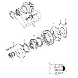 Reductor epicicloidal y sus componentes.