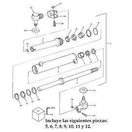 Cilindro de dirección Cascade y sus componentes