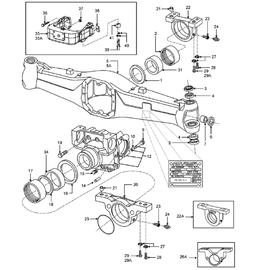 Caja del eje delantero y sus componentes.