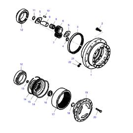 Maza delantera y sus componentes.