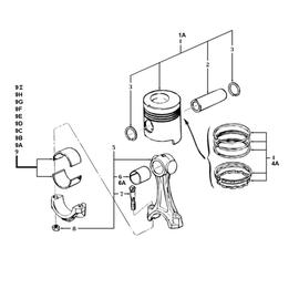 El pistón, la biela y sus componentes.