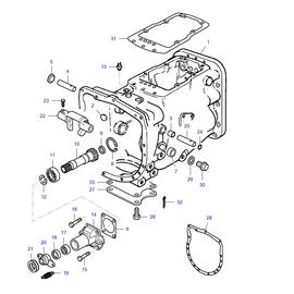 Caja de transmisión y sus componentes.