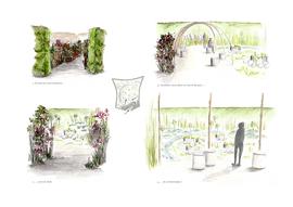Dessins d'ambiance pour le festival international des jardins de Chaumont sur Loire 2017. Dessin Elise Aretz