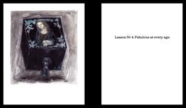 "BÜKE SCHWARZ  ""MONA LISA FEAT. ANNA DELLA RUSSO"" ZYKLUS POPULAR  BILDTAFEL: ÖL AUFPAPIER  TEXTTAFEL: LETTERPRESS  30 X 24 CM (DIPTYCHON)  2013/14  UNIKAT"