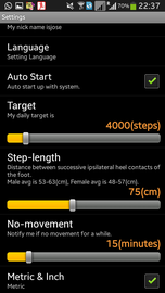 step counter settings