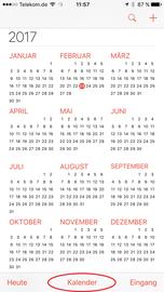 """Danach in den iPhone/iPad-Kalender wechseln und am unteren Bildschirmrand auf """"Kalender"""" tippen."""