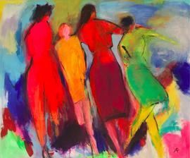 Vier Frauen (120x100cm), Acryl auf Leinwand