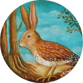 🔴 Earth Rabbit, 2016, oil on board, 10 x 10 cm (4 x 4 in)