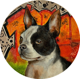 Frenchie, 2019, oil on board, 10 x 10 cm (4 x 4 in 🔴