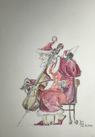 Titel: Musikempfang für Nikolaus - Farbzeichnung 21x30 cm