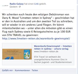 Voting-Aufruf bei facebook der Radio Galaxy Seite
