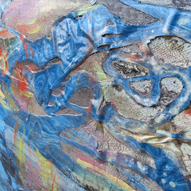 """""""Underwater I"""" (1m by 80cm). Close up of detail."""