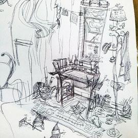 ひとつ机描き始めたと思ったら、そこからあれよあれよとふくらんでいくイメージ。