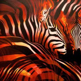 Zebre rosse - Olio su tela - 70x60