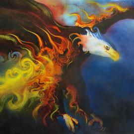 The Bird of Fire - Acquarello e pastelli su carta - 35x50