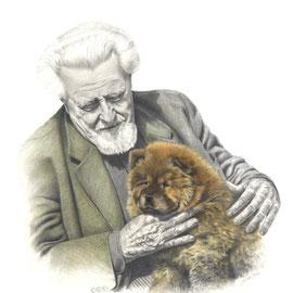 Konrad Lorenz con il suo chow chow - 35x50 - matita nera e pastello