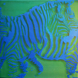 Piccole zebre azzurre - Olio su tela - 20x20