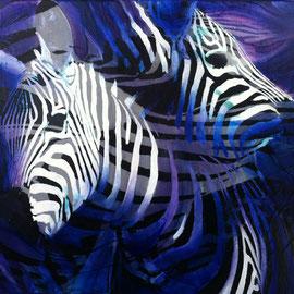 Zebre blu - Olio su tela - 30x30