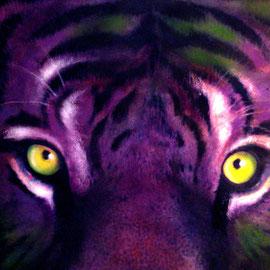 Tigre viola - Acquarello e pastelli su carta - 35x50