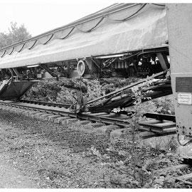 Der Abbauzug am 20. Juli 1982 - Mittlerweile angekommen in Niederforstbach in Höhe der Tuchfabrik Becker