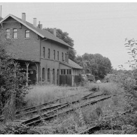 Blick auf den Bahnhof Kornelimünster am 4. Juli 1982