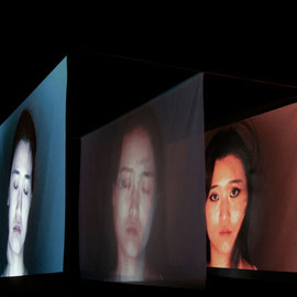 1)2 Videoprojections on textiles, 320x300x180cm, hd, color, loop, no sound, 2011