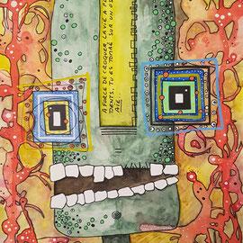 """""""Croque la vie"""" aquarelle sur papier Canson (300g grain fin sur format 21x29,7 cm) - Série Totem by Malagarty"""
