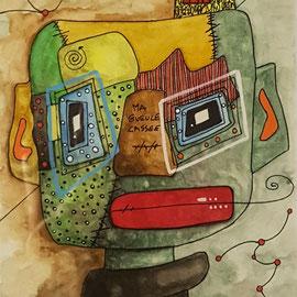 """""""Ma gueule cassée"""" sur papier Canson (300g grain  fin sur format 29,7x21 cm) -  by Malagarty"""