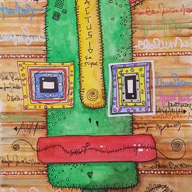 """""""Cactus"""" aquarelle sur papier Canson (300g grain fin sur format 21x29,7 cm) - Série Totem by Malagarty"""