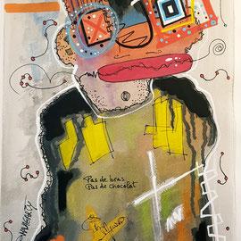 """""""Pas de bras, pas de chocolat"""" sur papier Canson (300g grain  fin sur format 31x41 cm) - by Malagarty"""