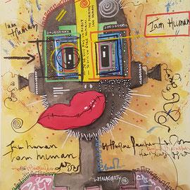 """""""I'am juman"""" sur papier Canson (300g grain  fin sur format 31x41 cm) - by Malagarty"""