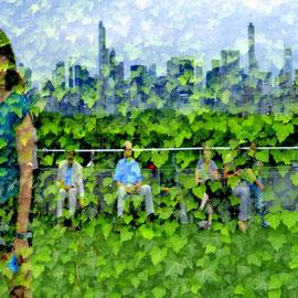 Нью-Йорк и посетители музея в линзе Дэна Грэхама, на крыше музея Метрополитен. Нью-Йорк 2016 г  Жанна Валиева (vgannaa), Оренбург, Россия