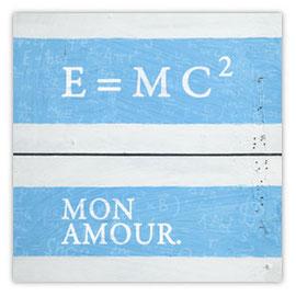 StadtSicht 125a, Relativitätstheorie Mon Amour Tag auf Holz