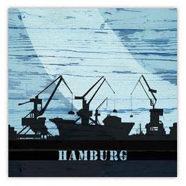 Graffiti auf Holz, Motiv: Hambrug Docks mit Kränen