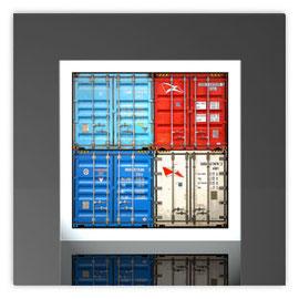 Quadratleuchte, Motiv mit Container 600