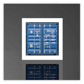 Würfelleuchte, Motiv mit Container blau 002
