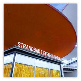 StadtSicht 126a, Eingang Strandbad Tiefenbrunnen, Perspektive