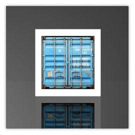 Würfelleuchte, Motiv mit Container hellblau 001