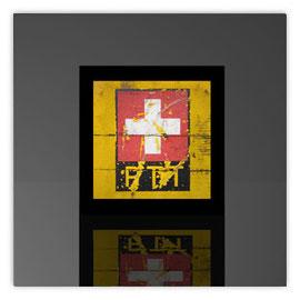 Würfelleuchte, Motiv mit PTT Logo mit Schweizer Kreuz